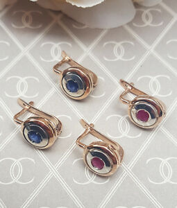 Art-Deco-Inspired-9ct-Rose-Gold-amp-Sapphire-or-Ruby-Target-Earrings