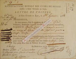 1784-Manufacture-Royale-Cuirs-Russie-Saint-Germain-en-Laye-Lettre-de-voiture