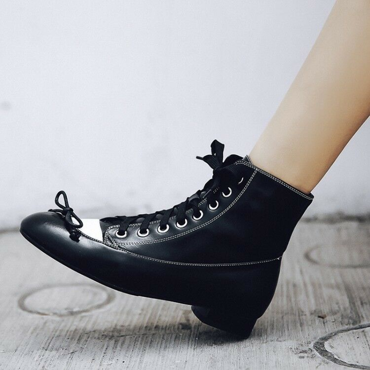 Women Chunky Block Low Heels Lace Up Up Up Ankle Boots Round Toe Knot Fashion shoes Sz 6530c6