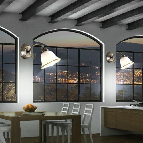 2er Set LED Wand Leuchten Antik Stil Wohn Zimmer Altmessing Lese Lampen Glas