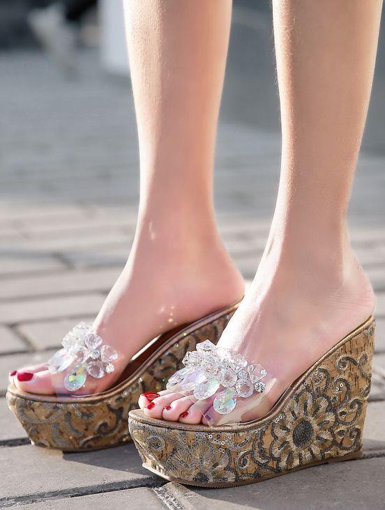 zapatillas cuña altos 12 cm zuecos oro transparente elegantes como piel 9677