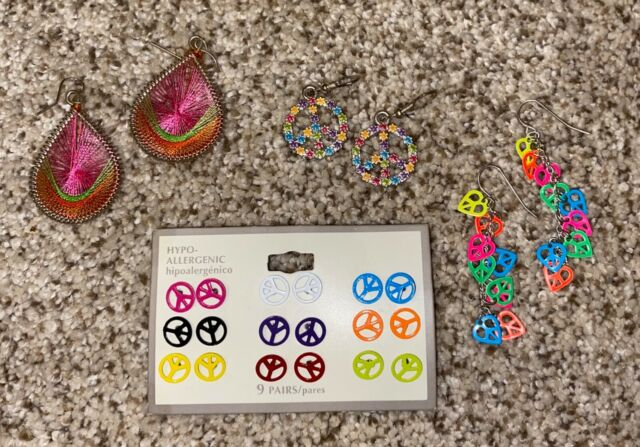 Download Peace Sign Kids Colorful Hippie Earrings Bundle | eBay