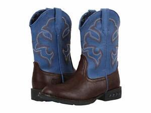 27bd5d012ec Details about Roper Lightning Kids Brown Faux Leather Light Up Western Boots
