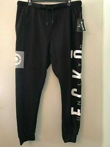 Mens ECKO Unltd Jogger Fleece Gym Pants Sweatpants Black Grey Velvet Print Legs