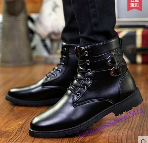 Hot Mens Fashion Shoes Ankle Boots Combat Motorcycle Pu Leatehr Lace Up Winter S