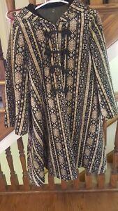 noir côtelé capuche vintage femme avec pour Manteau beige côtelé en en et velours et velours bascule TqtRgtaE