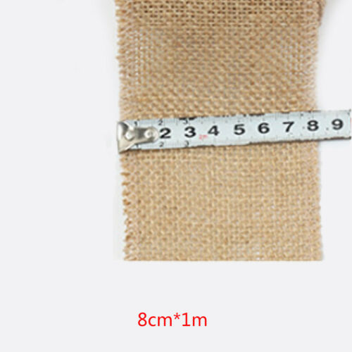 Jute Burlap Ribbon Natural Craft Decorative  Gift Wraping Bag Material 1M//Roll
