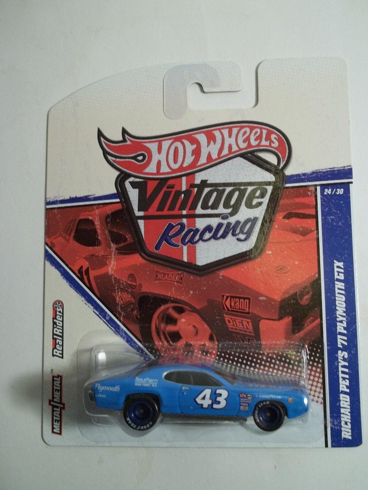 Hot Wheels Vintage Racing Richard Petty '71 Plymouth GTX GTX GTX Error NoGrill Rare 56db93