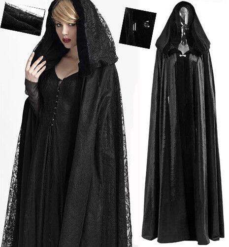 Cape longue manteau gothique lolita baroque velours dentelle réversible PunkRave
