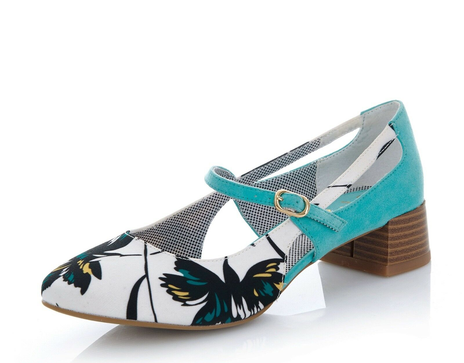 Ruby Shoo NEW Iris aqua white turquoise floral floral floral print low heel shoes size 3-9 cc0607