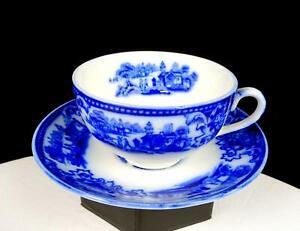 "W H GRINDLEY ENGLAND SHANGHAI PATTERN ANTIQUE FLOW BLUE 2 1/8"" CUP & SAUCER 1891"