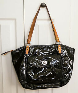 Image Is Loading Coach Embossed Patent Leather Black Tote Bag Shoulderbag