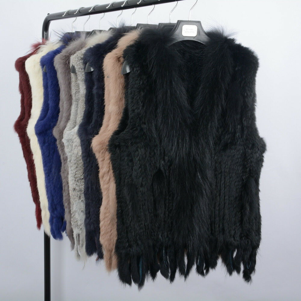 Real Rabbit Raccoon Fur Vest Collar Women Winter Fashion Gilet Waistcoat 61700