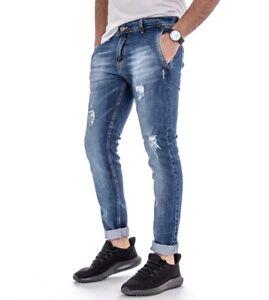 Jeans-Akiro-Uomo-Pantalone-Denim-Tasca-America-Slim-Rotture-Casual-GIOSAL