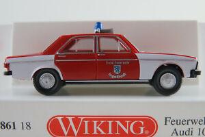 Wiking-086118-Audi-100-Lim-1968-034-Freiw-Feuerwehr-Ingolstadt-034-1-87-H0-NEU-OVP