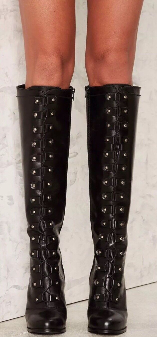 NEU NASTY GAL 258 TAKE IT UP A NOTCH BLACK LEATHER BOOTS SZ 39 EU 8