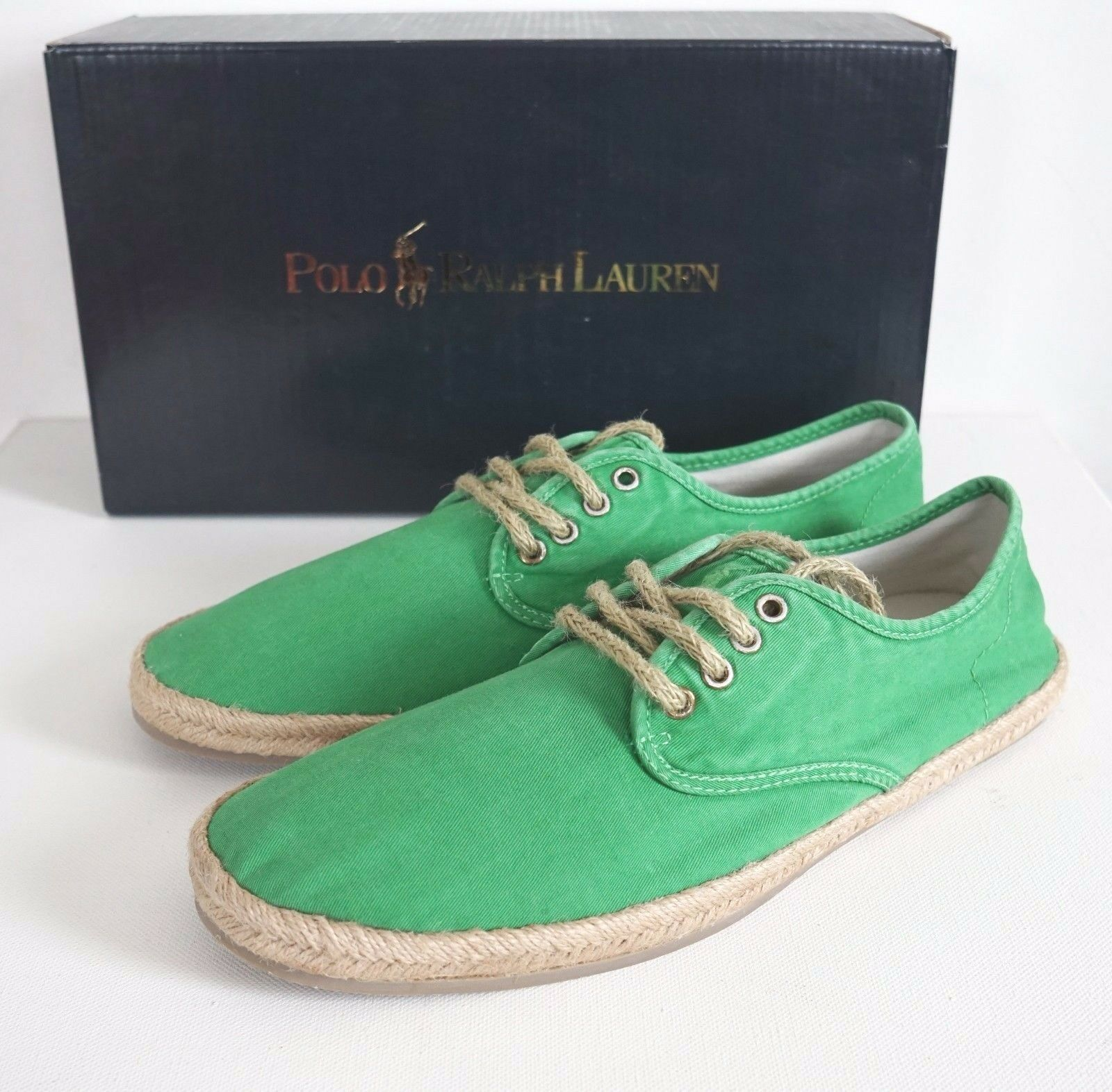 Auth POLO RALPH LAUREN SHORTLANDS Green Rope Canvas Casual Shoes 10.5D EUR-43.5