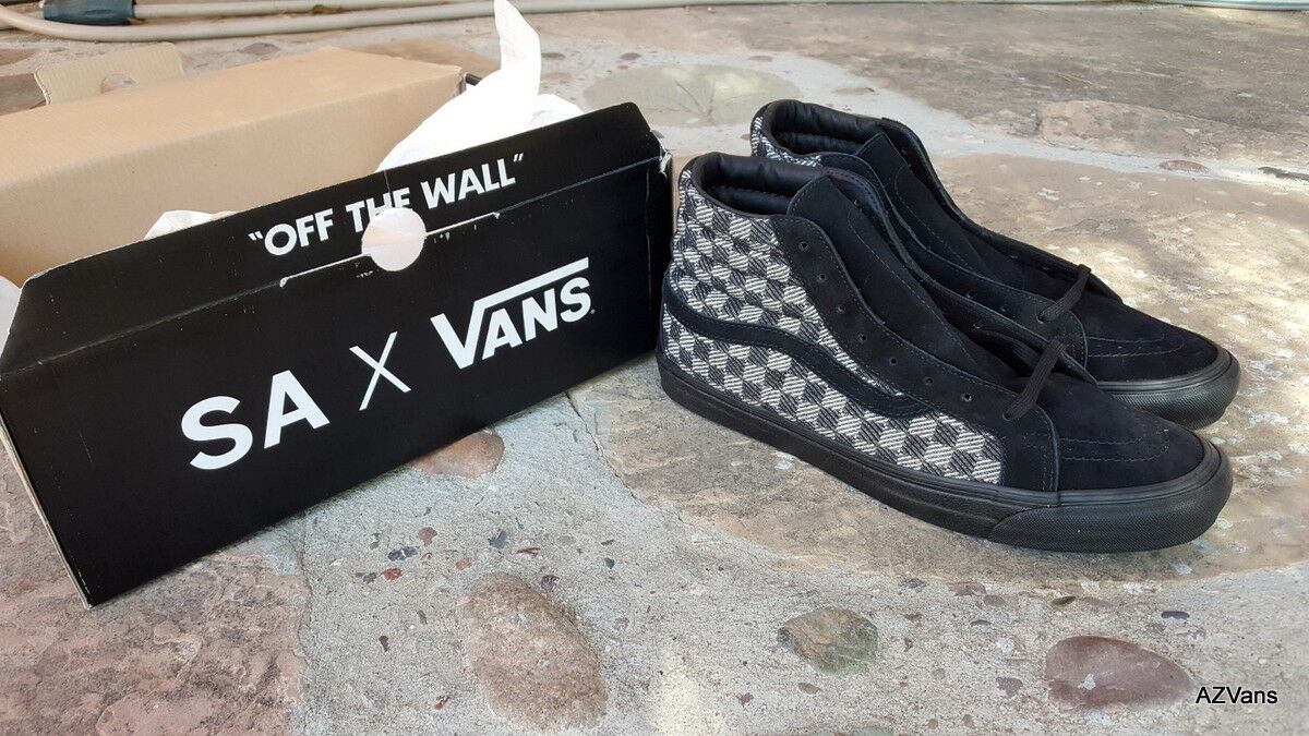 VANS OG SK8-HI LX (STEVEN ALAN) CHECKERS BLACK CREAM CREAM CREAM COTTON MEN'S SIZE 12 NEW 622b04