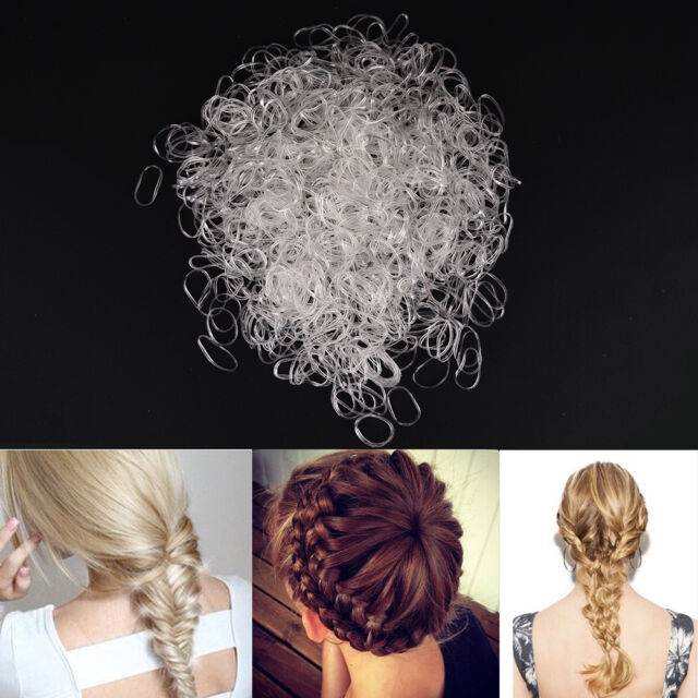 1000x Clear Rubber Hairband Rope Ponytail Holder Elastic Women Hair Band Tie  Pop c771e597ae7