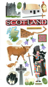 Scotland Travel Stickers - Hadrian's Wall, shortbread, castle, whiskey, bagpipe
