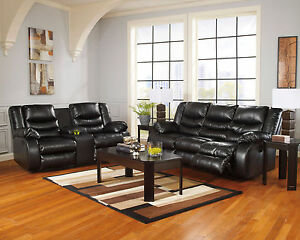 Modern Living Room Couch Set Black Bonded Leather Reclining Sofa