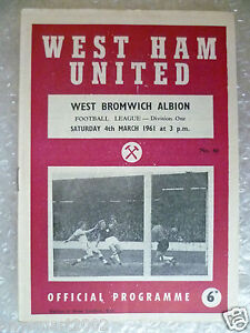 1961 WEST HAM UNITED v WEST BROMWICH ALBION 4th March League Division One - <span itemprop=availableAtOrFrom>ilford, Essex, United Kingdom</span> - Returns accepted Most purchases from business sellers are protected by the Consumer Contract Regulations 2013 which give you the right to cancel the purchase within 14 days after th - ilford, Essex, United Kingdom