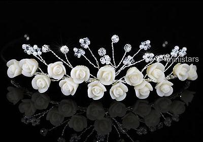 Bridal Handmade Ivory Rose Crystal Tiara T1466