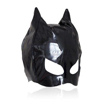Dungeon Wheel Fancy Party PVC Wet Look Cat Ear Half Head Hood Mask Blindfold