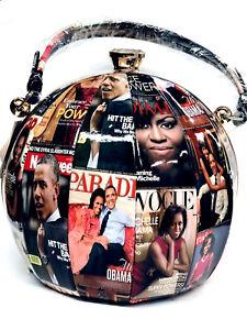 ᄀᄆ Damenhandtasche Obama Black amp; Rund Michelle 10ᄀᄆ New 10 Collection White gwtx5WqU