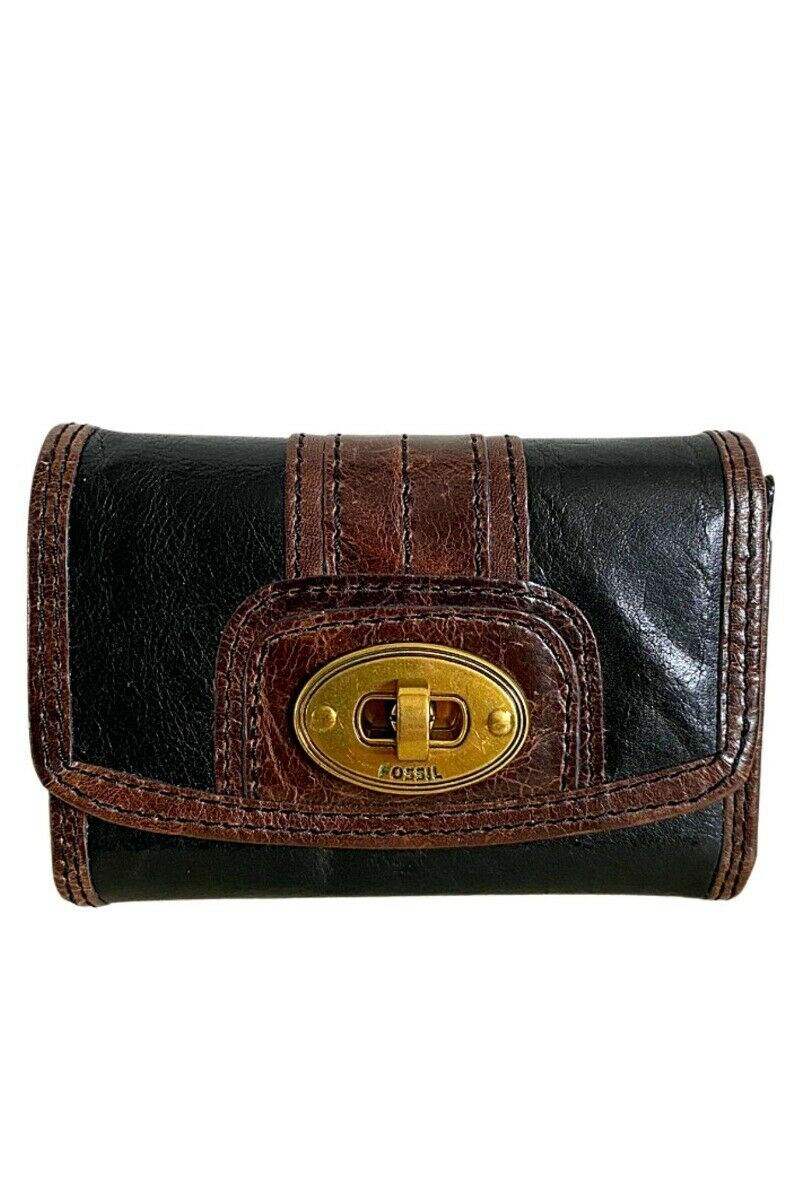 FOSSIL Black and Brown Leather Wallet - One Size