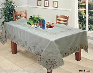 Spring-Embroidered-Pink-Rose-Floral-Tablecloth-70x120-034-amp-12-Napkins-3463