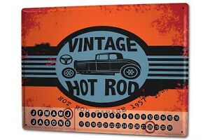 Calendario-perpetuo-Garaje-Vintage-Hot-Rod-Metal-Imantado-Gas-Estaciones