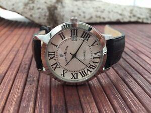 Jacques du Manoir swiss made quartz watch - date -  leather strap - new - 98167G
