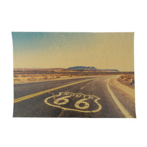 Route-66-Retro-Kraft-Papier-Affiche-Tin-Signes-Mur-Art-Peinture-Maison-Decor-BB