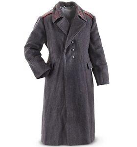 Vintage Soviet Bloc Army Grey Wool Military Coat Genuine