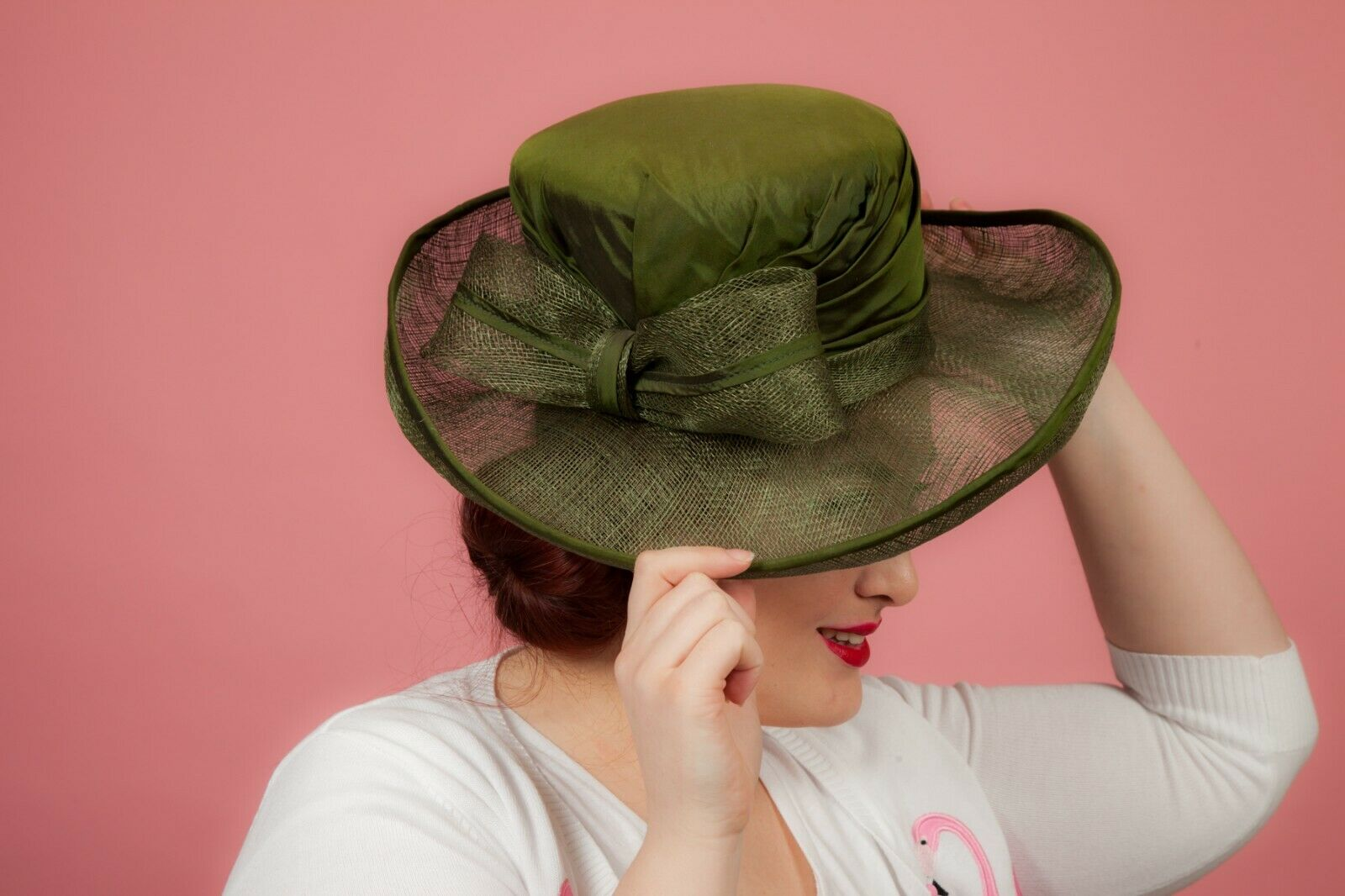 Large green khkai silk covered formal hat by Pamela Bromley