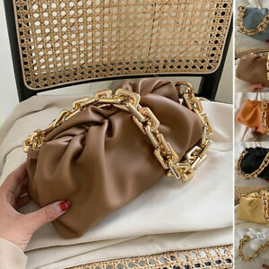 2 Straps Ruched Chunky Big Gold Chain Pouch Clutch Shoulder Bag Crossbody Purse