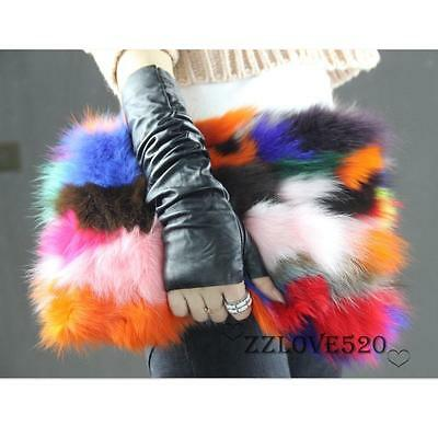 Designer Genuine Fox Fur Trendy Clutch Bag Multi Color Fur Bag Runway Purse