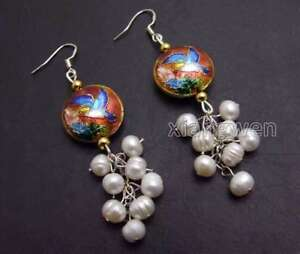 6-7mm-Round-White-Natural-Pearl-with-18mm-Red-Cloisonne-Dangle-earring-ear589