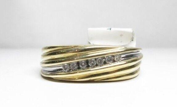 (RI4) Men's 10K Yellow gold Diamond Ring -  sz. 10.5 - 5 g - .14 TCW