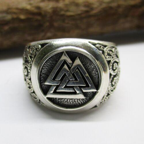 Valknut vikingo anillo plata 925er wotansknoten sello anillo triquetra