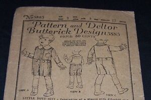 1920&#039;S ANTIQUE CHILD PATTERN-BUTTER<wbr/>ICK #5885-BOY-AGE 3-SHIRT-PANTS-<wbr/>COMPLETE