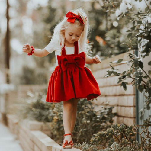 Kids Infant Baby Girl Bow Braces Skirt Sleeveless Xmas Party Princess Tutu Dress