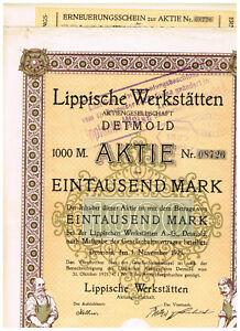 Lippische-Werkstaetten-AG-Detmold-1921-1000-Mark-ungelocht-Kupons-deco