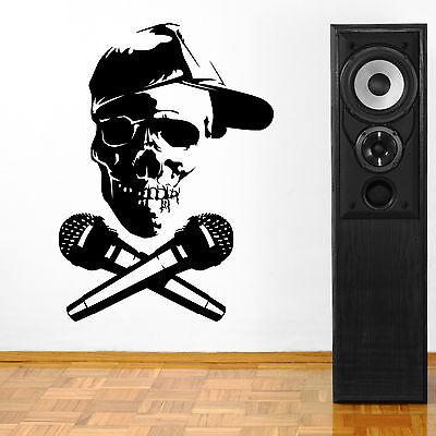 Música CALAVERA DJ AURICULARES adhesivo pared Pegatina Mural vinilo