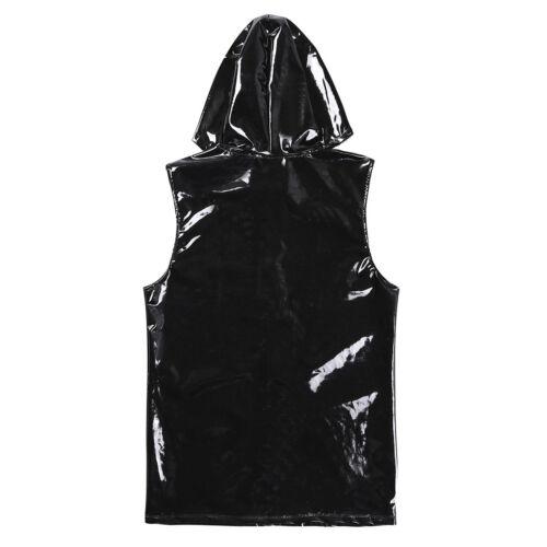 Men PVC Leather Underwear Long Sleeve T-shirt Top Zipper Clubwear Vest Costume