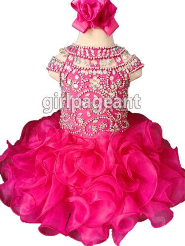 Infant//toddler//baby Crystals Heavily Beaded Fuchsia Pageant Glitz Dress G225-4