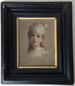 Rare-19th-century-French-oil-impressionist-painting-portrait-Girl-MANET