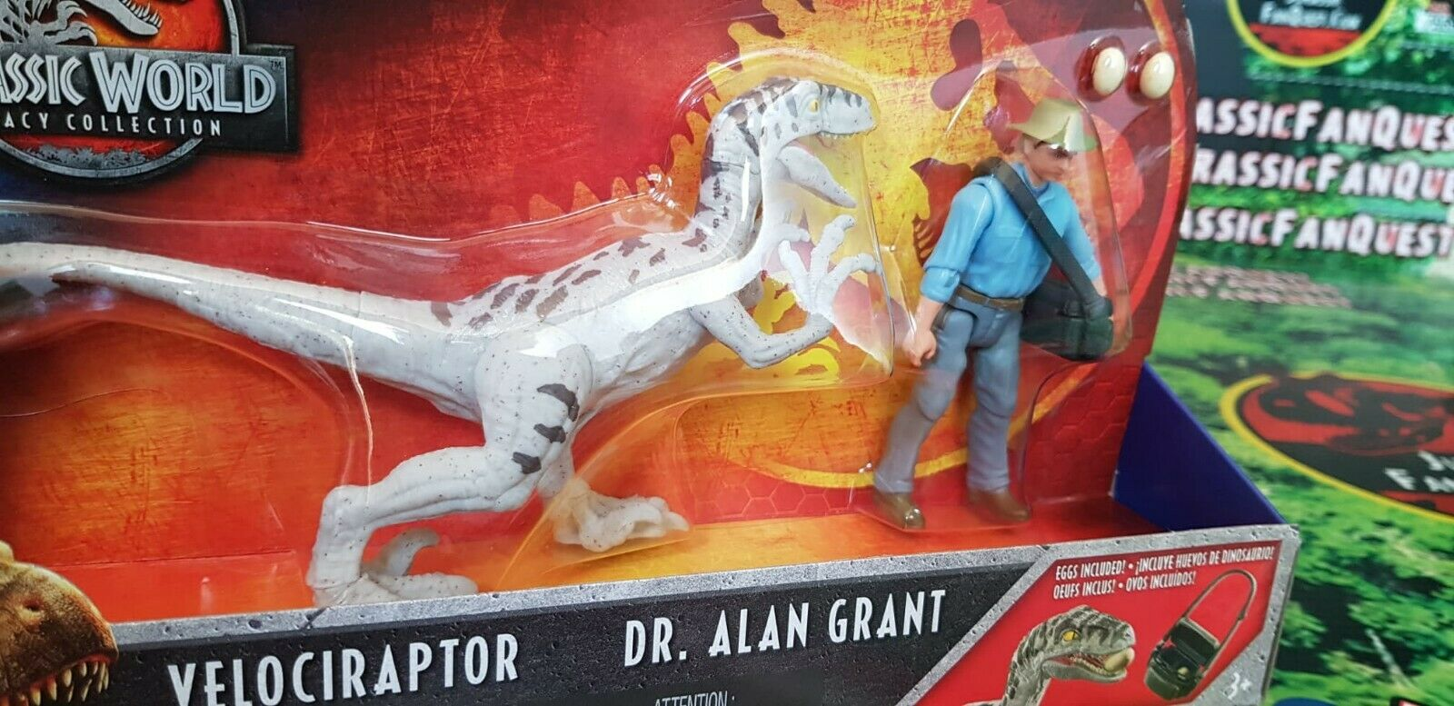 Jurassic World Legacy storia Pack Dr. Alan Grant & Velociraptor RARE Full Painted