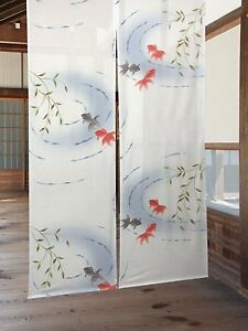 Japanese-Noren-Curtain-Kingyo-Gold-Fish-85-x-150cm-from-JAPAN